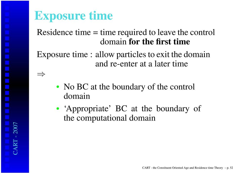 time No BC at the boundary of the control domain Appropriate BC at the boundary of