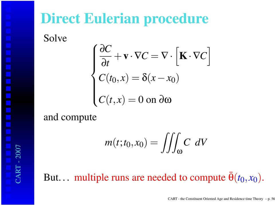 dv But... multiple runs are needed to compute θ(t 0,x 0 ).