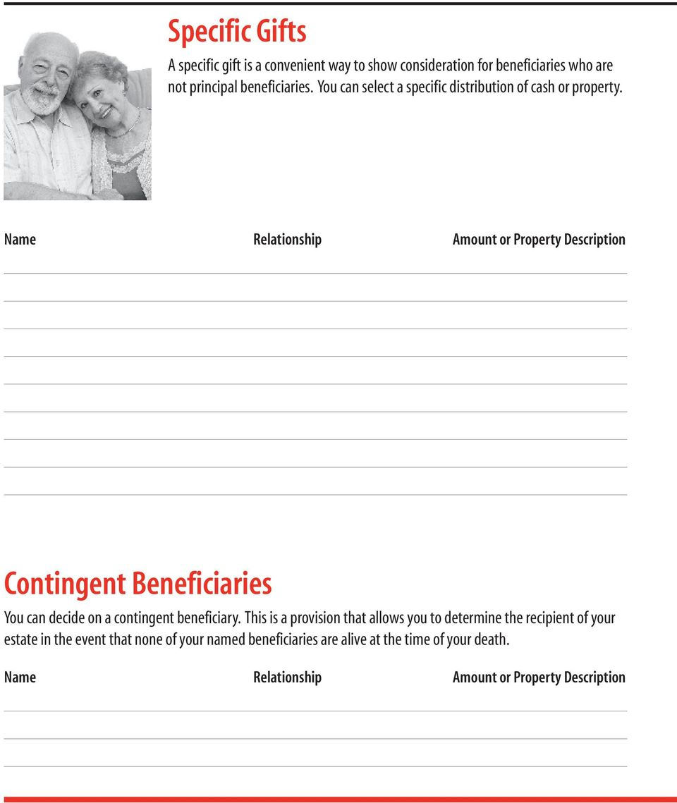 Name Relationship Amount or Property Description Contingent Beneficiaries You can decide on a contingent beneficiary.