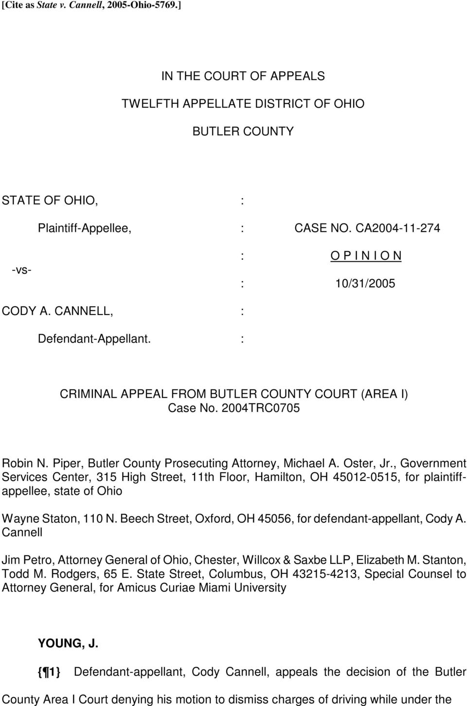 Piper, Butler County Prosecuting Attorney, Michael A. Oster, Jr.