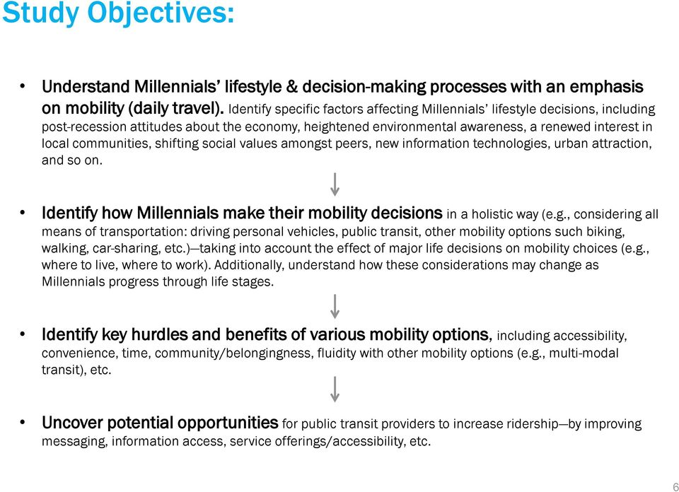 shifting social values amongst peers, new information technologies, urban attraction, and so on. Identify how Millennials make their mobility decisions in a holistic way (e.g., considering all means of transportation: driving personal vehicles, public transit, other mobility options such biking, walking, car-sharing, etc.