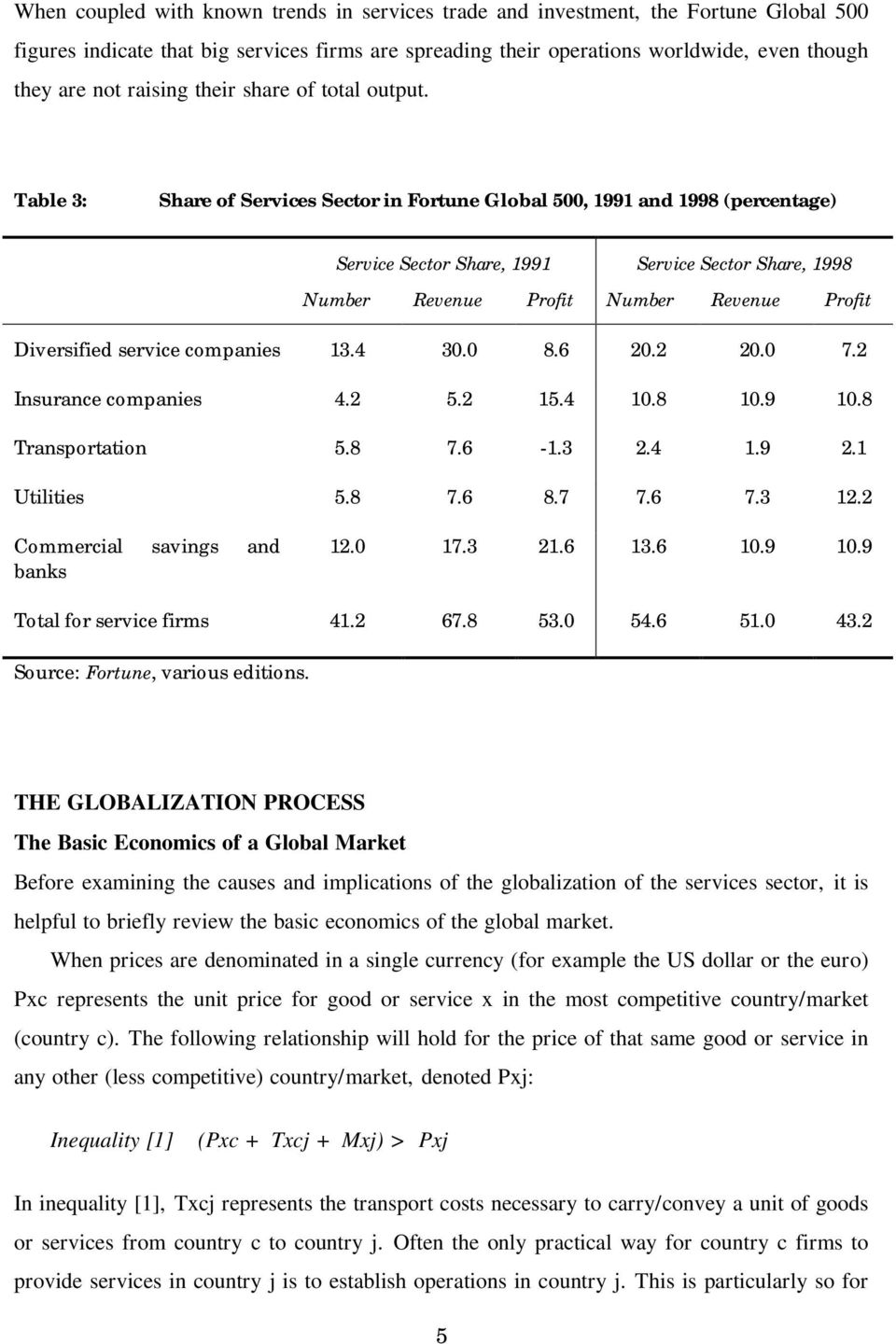Table 3: Share of Services Sector in Fortune Global 500, 1991 and 1998 (percentage) Service Sector Share, 1991 Service Sector Share, 1998 Number Revenue Profit Number Revenue Profit Diversified