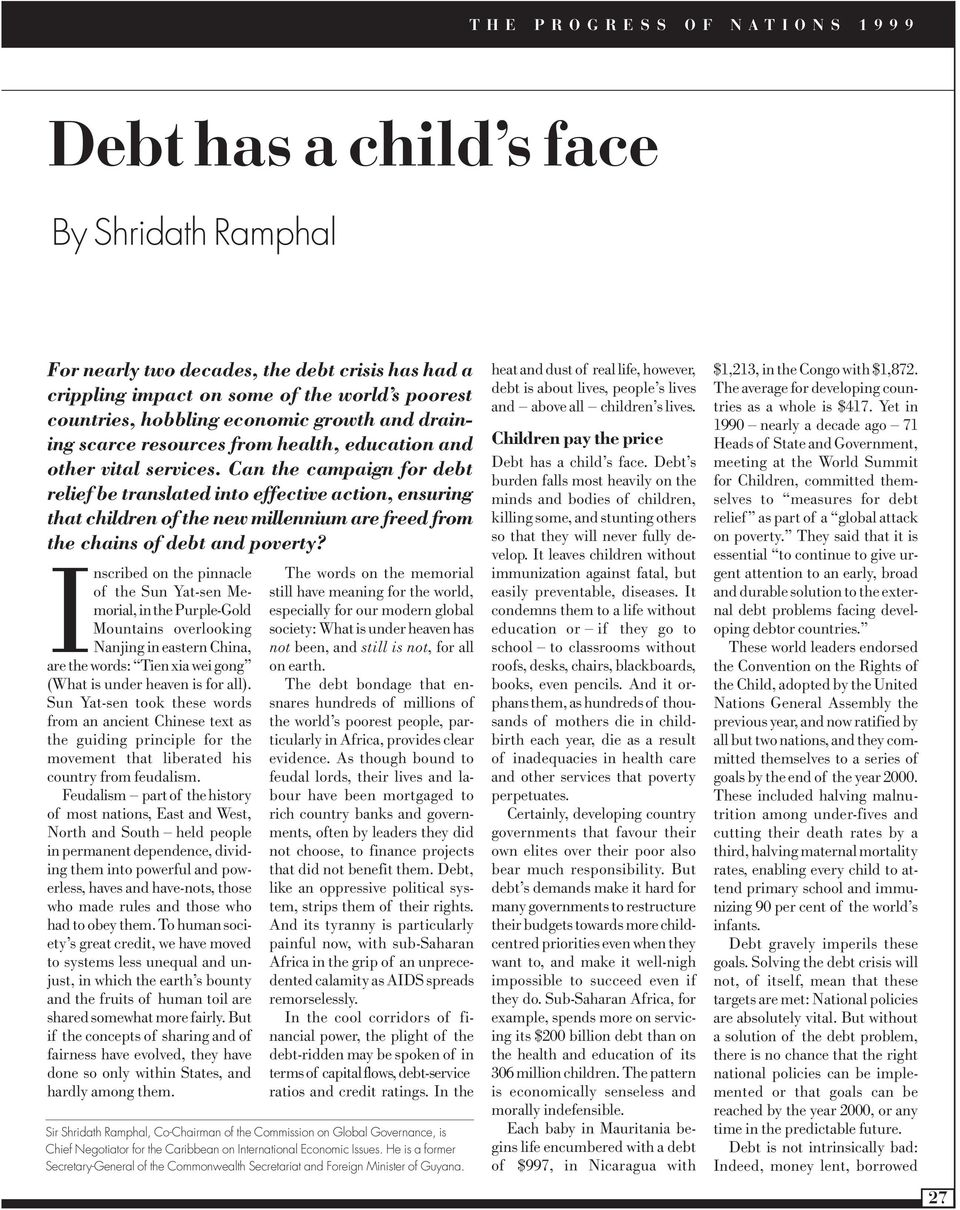 Can the campaign for debt relief be translated into effective action, ensuring that children of the new millennium are freed from the chains of debt and poverty?