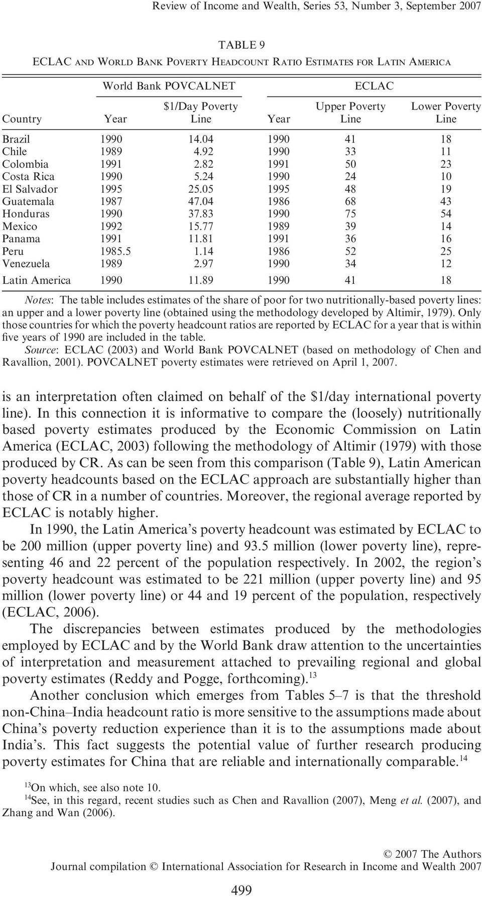 In this connection it is informative to compare the (loosely) nutritionally based poverty estimates produced by the Economic Commission on Latin America (ECLAC, 003) following the methodology of