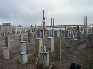 Piles Precast Piles -Are either solid concrete or open cylinders that are later filled solid. -May be square, round, or octagonal in cross section. -All are reinforced and most are pre-stressed.