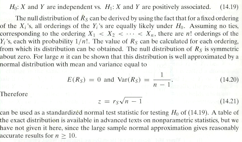 Test for Association Based on Spearman s Rank Correlation