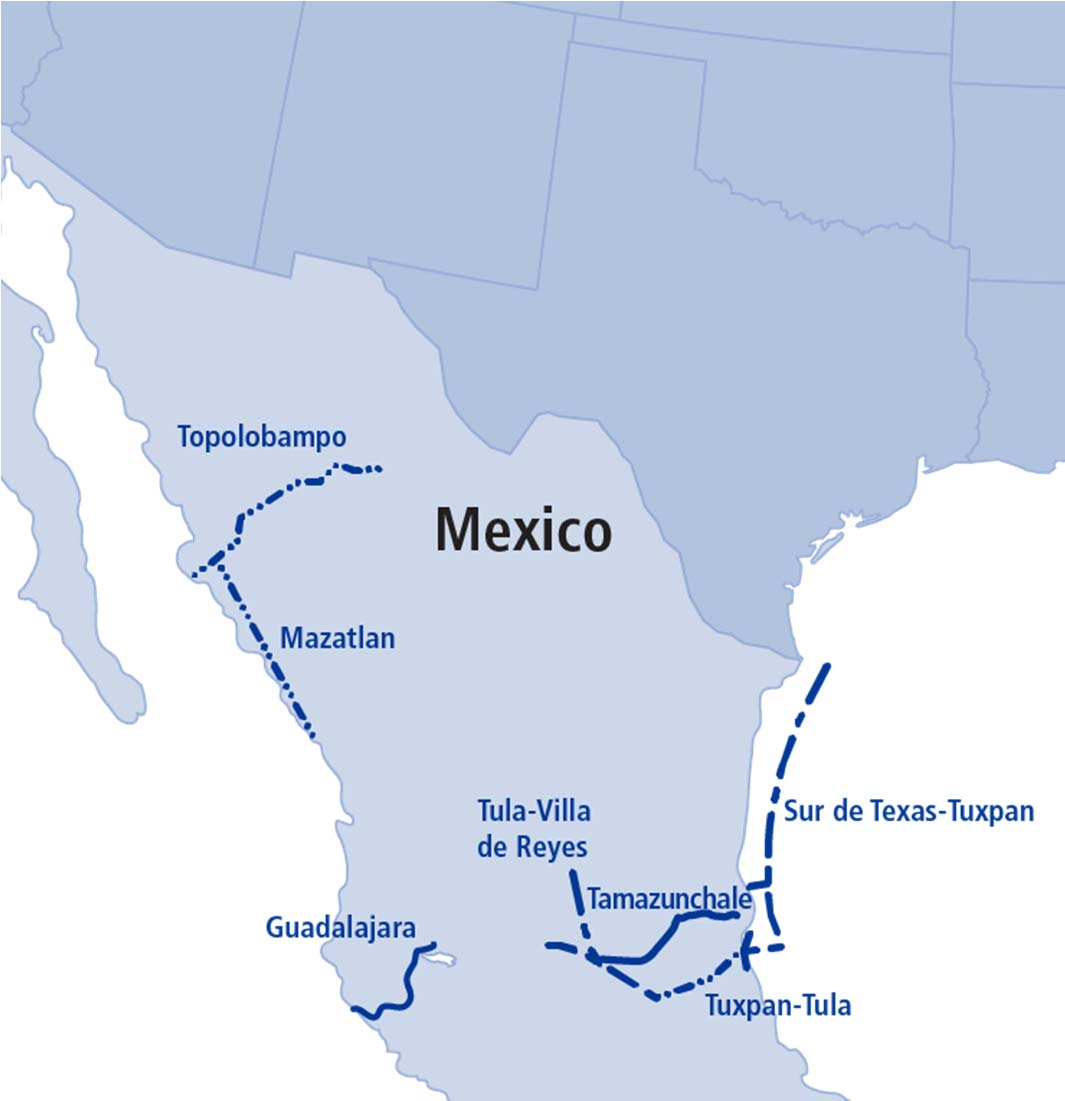 Mexico Solid Position and Growing Pipelines underpinned by long-term contracts with the Comisión Federal de Electricidad (CFE) Guadalajara and Tamazunchale pipelines are in-service Five new projects
