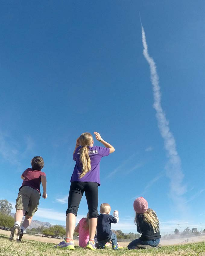 Glossary Kids watch as a rocket soars high into the sky. Model rockets are a fun way to learn about science. Who knows how high a model rocket can take your imagination?