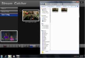 Manually record a video Manually recording video can be done by simply pressing the Record button from the control menu along the bottom of the Stream Catcher window.