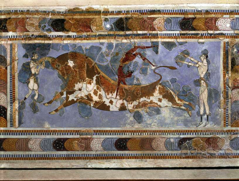 Bull-leaping, from the palace at Knossos (Crete), Greece, ca.