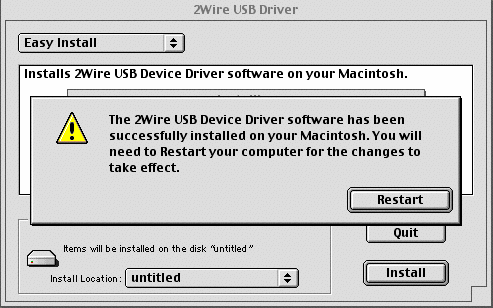 5. Select Easy Install. If Easy Install is not already selected in the 2Wire USB window, select it from the pull-down menu. 6.