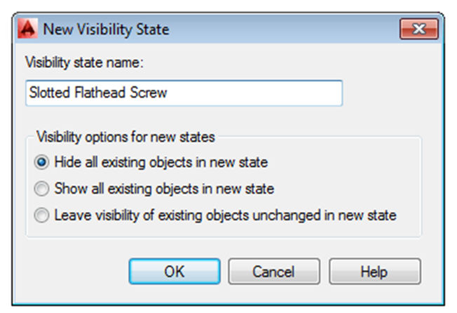 Name the new visibility state Phillips Flathead Screw. Select the radio button next to Hide all existing objects in new state. Click OK in both dialog boxes. Once again the screen is blank.
