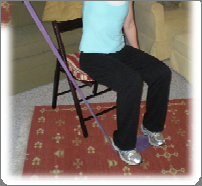 Chest press/flies (seated or Chest standing) Wrap the band around your upper back or (if sitting) a chair with a backrest (). Grasp both ends of band with elbows slightly bent and palms facing in ().