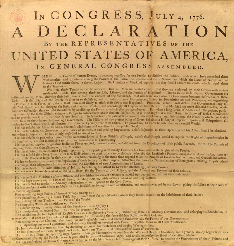 American War of Independence Main events 1 Americans issue Declaration of Independence on 4 July 1776