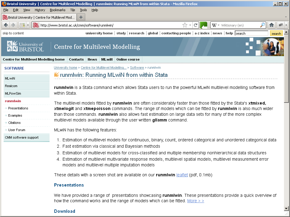 Running MLwiN from within Stata: the runmlwin command - PDF
