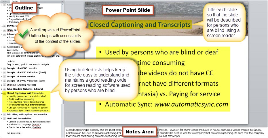 The notes area is at the bottom of each slide when creating