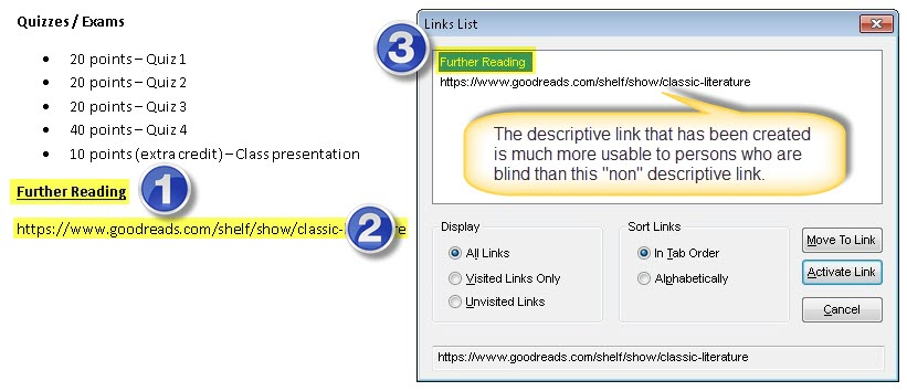 1. Here the new link has been created that is considered to be a descriptive link 2.