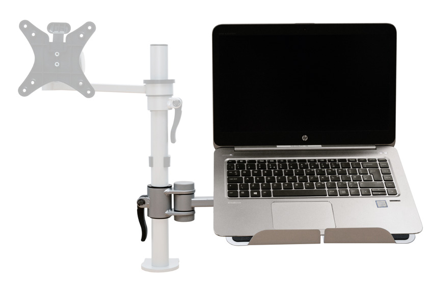 Vision S Laptop Support Used in conjunction with the Vision pole arm the laptop holder can be positioned to the side or rotated around the pole and height can be adjusted with a