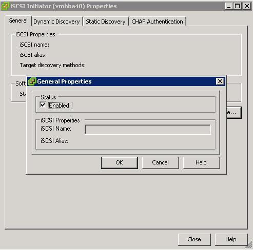 Figure 6: iscsi software adapter under Storage Adapters on VI client 6. The iscsi initiator Properties window appears. 7.