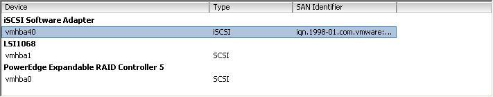 8. Select iscsi software adapter under storage. You should now see your iscsi Target name listed. Figure 8: iscsi software adapter after initial configuration 9.
