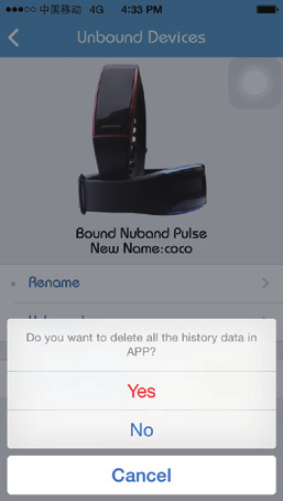 3) Unbound Devices 1. Click Rename to assign the new name for band device. 2.