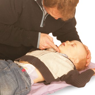 Position airway in a neutral position and in a child slightly extended.