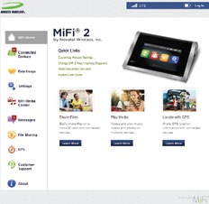 webinterface MiFi 2 WEB INTERFACE You can customize settings, change your password, get information and access applications using the MiFi 2 Web Interface. Browse to http://my.