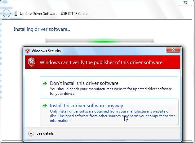 2-2-5 The installation screen appears and Windows Security is displayed.