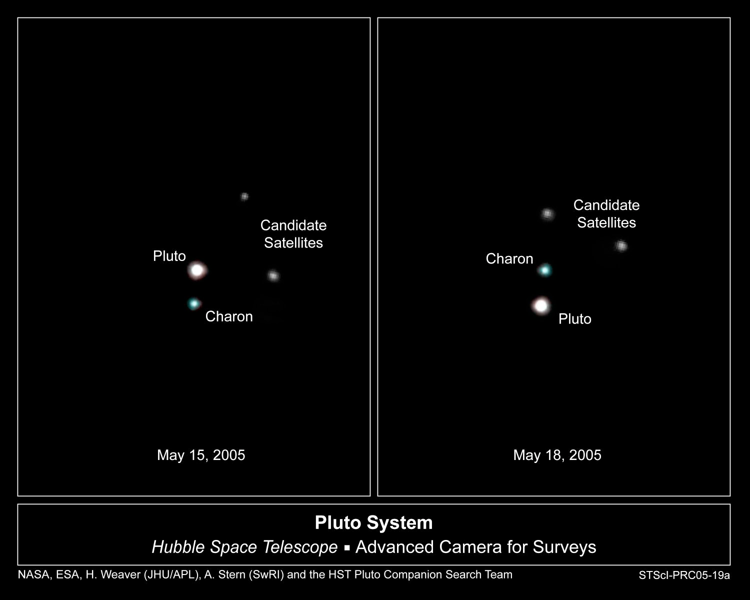 2005 Announcement of 2 new moons of Pluto Designated -