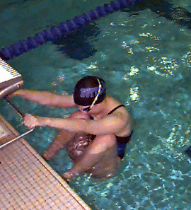 Preparatory Position Hands grip backstroke bar or handles at shoulder width and with both hands Align thumb for push Press palm against bar Elbows straight and relaxed Feet underwater or the toes