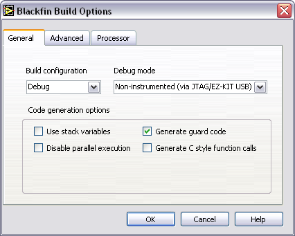 Figure 12. Configuring the Build Options 4.