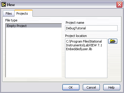 shown in Figure 6. Figure 6. Embedded Project Manager New Dialog Box 3.