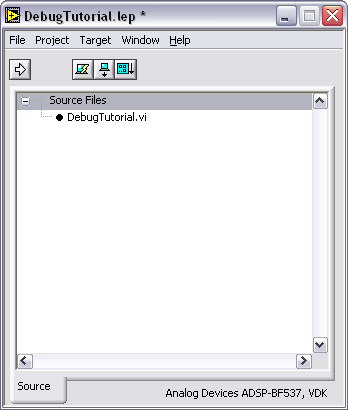 The front panel of the DebugTutorial VI opens and the DebugTutorial VI appears under Source Files in the Embedded Project Manager window as shown in Figure 8. Creating the Front Panel Figure 8.