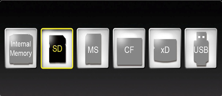 Operating Instructions Card Selection In Card selection, the selected memory medium will be highlighted as shown below.