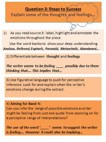 Question 3 = Source 3 Highlight the thoughts and feelings in