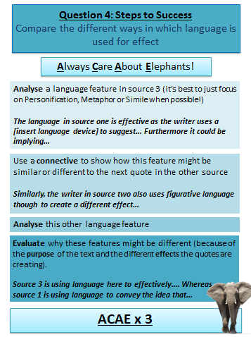 Question 4 = Source 3 and 1/2 Highlight language devices in source 3 and either 1