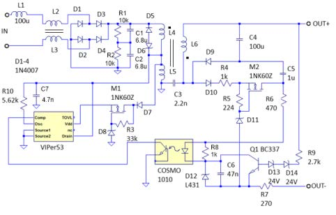 LED driver Switching (50 khz) power supply, Flyback topology.