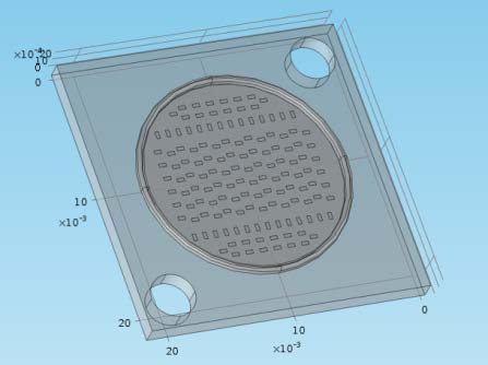 CAD model for the HBR LED module Multichip using 140 LEDs. Size 20 mm x 20 mm, LEDs in a circle of d=16 mm.