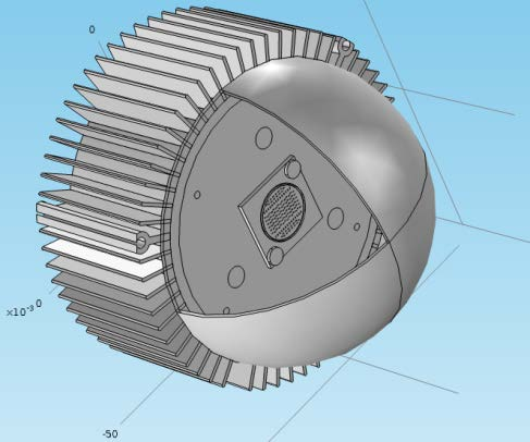 CAD model for the LED lamp A LED module, an aluminum heatsink and a plastic bulb. A down-light on ceilings, a spot light etc.