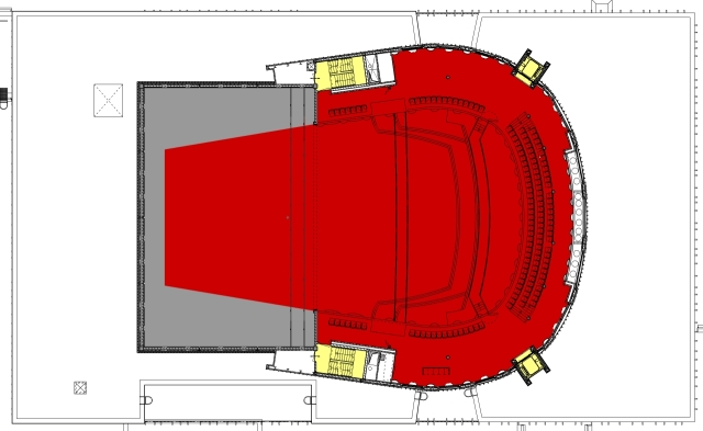 in figure 2. Figure 1. Plan in theatre-situation Figure 2. Section in theatre-situation gallery Figure 3. Plan of gallery-level in concertsituation Figure 4.