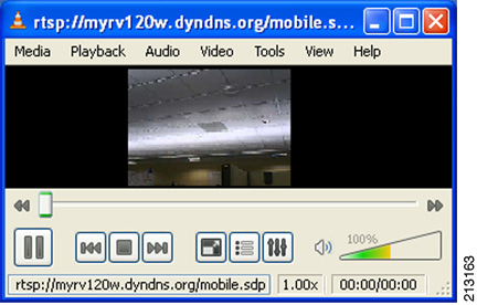 Step 3 From a smart phone or laptop connected to the public Internet, launch a media player such as VLC player on the PC to view the RTSP stream directly from the WVC IP Video Camera using the link