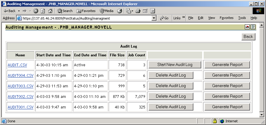 4.6 Using Print Auditing When auditing is enabled for a Printer Agent, a log file is created indicating who printed how many pages to which printer on a given date.