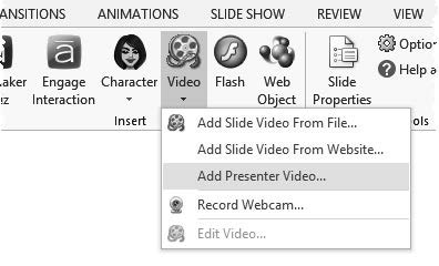 images or diagrams appear on the  To add a video to the Presenter panel: 1. Go to the Articulate tab. 2.