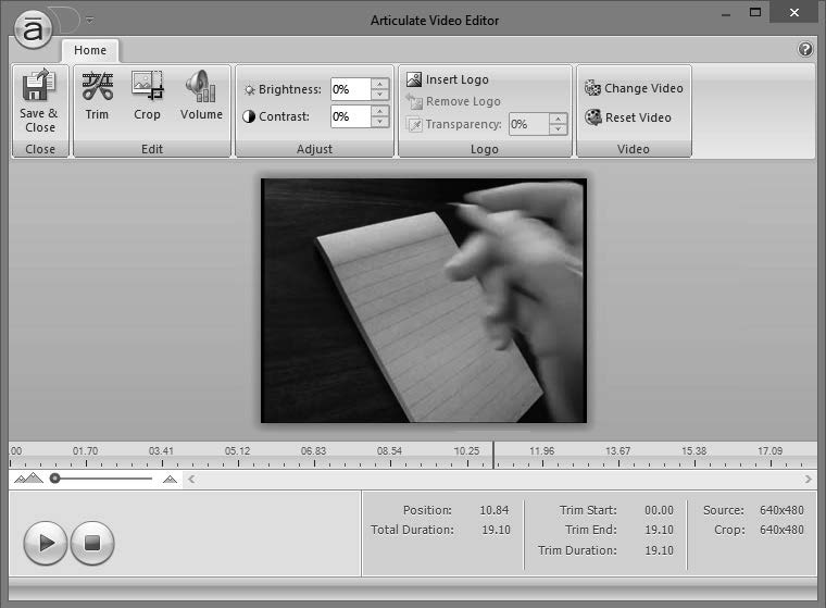 32 E-Learning Uncovered: Articulate Studio 13 Editing Video 13 NEW Preview Timeline zoom controls Timeline Playhead Play Stop