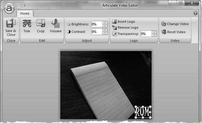 34 E-Learning Uncovered: Articulate Studio 13 Video Editing Options (cont d) To add a logo to the video: 1. Click the Insert Logo button. 2. Find and select the image you want. 3.