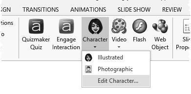 Additional photographic characters are available for purchase on the Articulate Website. 3.