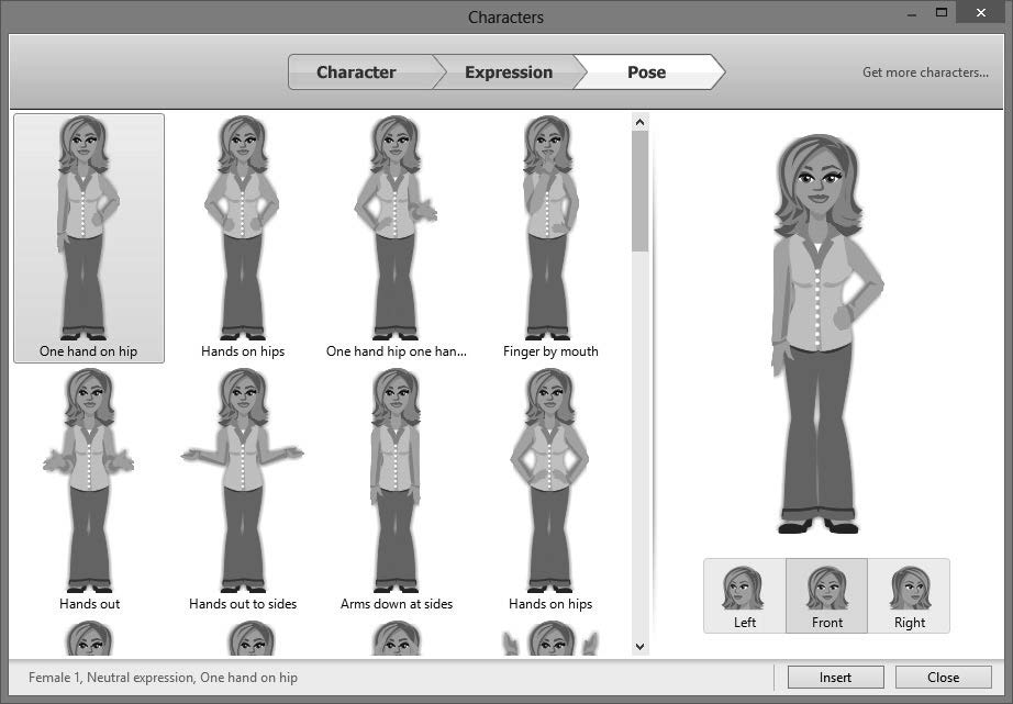Select the expression you want. 7. Click the Pose tab. (B) 8. Select the pose you want. 9.