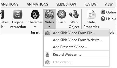 Once the video is on the slide, you have some simple editing tools available right from the ribbon.