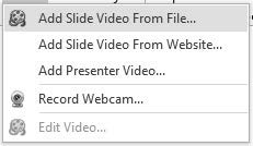 Go to the Insert tab. 2. Click the Video button. 3. Select Video From File. 4. Find and select the file you want. 5. Click the Open button. 6. Configure the options. 7. Click the OK button.