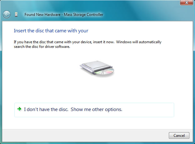 When prompted to insert the disc, insert the Driver CD that came with the card, into your CD/DVD drive and Windows will automatically proceed to search the CD. 4.